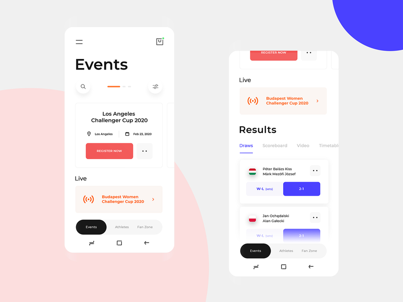 Mobile app for a new sport (Teqball) teqball ux ui design uidesign ui  ux uiux ui results events app event app events event mobile app design mobile design mobile app mobile ui mobile application app design app