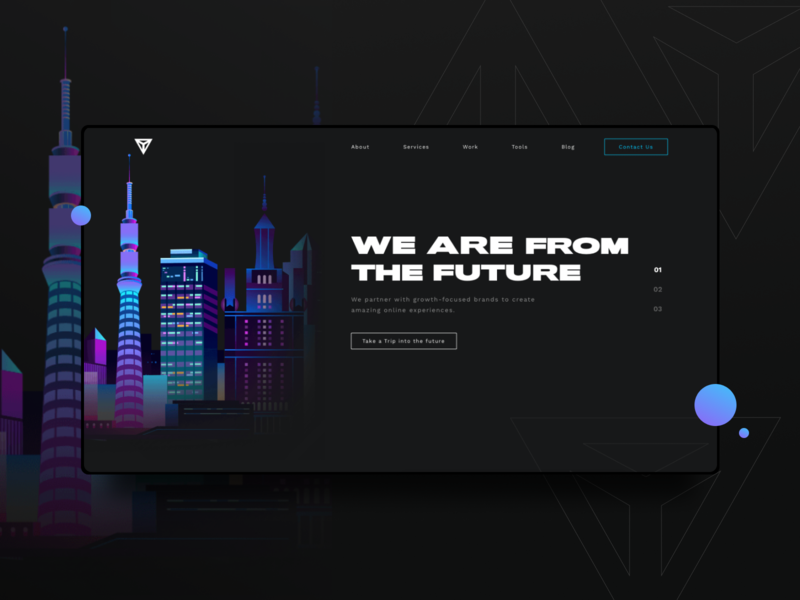 Agency Website Design - Future new york miami miami vice black  white cityscape city illustration 80s style 80s city retrowave retro night mode night dark app dark theme dark mode dark ui dark black future