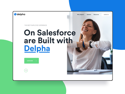 SaaS Website - Delpha website process blue typogaphy simple minimalistic minimalism minimalist minimal green white staffing recruiter recruitment recruiting employee crm software crm portal crm salesforce