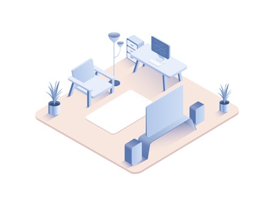 Living room isometric interior flower tv computer chair download illustration room interior flat isometric