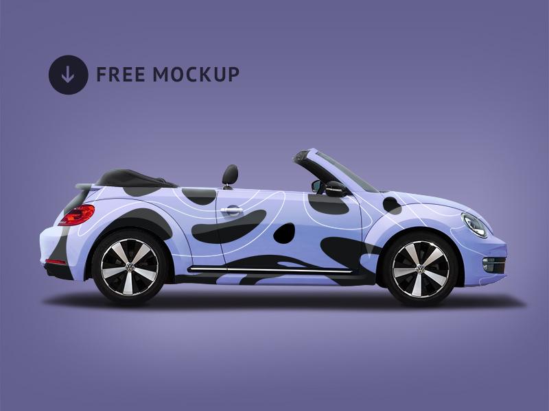 Volkswagen Beetle Branding Mockup download wolksvagen beetle psd free vehicle mock up car