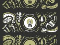 The Whole Shabang branding logo coffee logo procreate vectorart illustration design screenprint label wrap packaging design coffee coffee bag coffee branding coffee cup illustration
