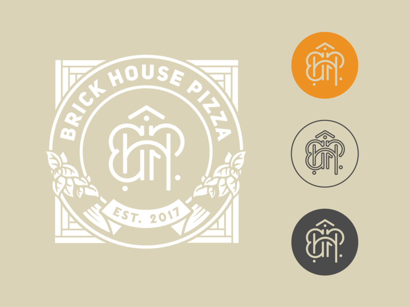 Brick House Pizza Initial Branding brick initial branding restaurant branding box design sticker design branding design monogram design monogram letter mark monogram logo logo monoline pizza