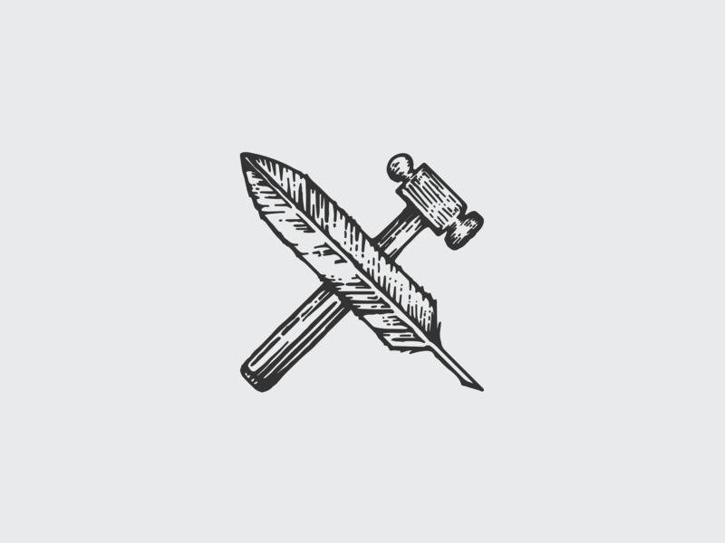Bonhoeffer Haus Main Logo haus bonhoeffer haus bonhoeffer branding design logo design quill hammer logo branding