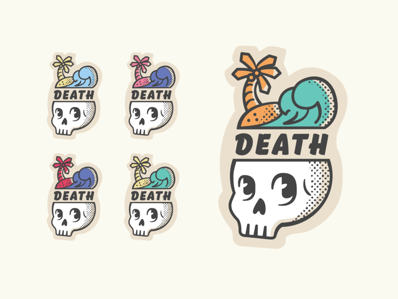 Death Beach Concept merch design band merch beach skull illustration sticker design sticker