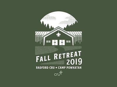 Fall Retreat 2019 retreat fall design fall shirt camp shirt camping fall texture halftone illustration shirt shirt design