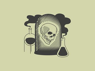 The former scientist scientist skull coffee bag vector illustration label design coffee branding branding illustration