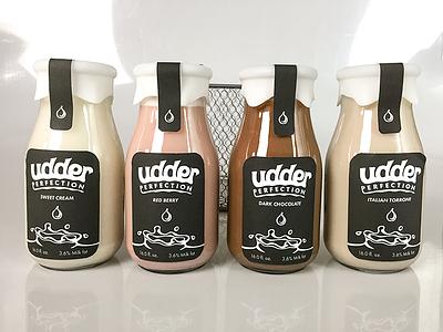 Udder Perfection Packaging examples milk dairy packaging bottling branding
