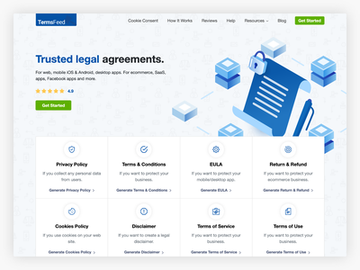 TermsFeed Homepage cookies consent terms and conditions privacy policy legal agreements agreements legal