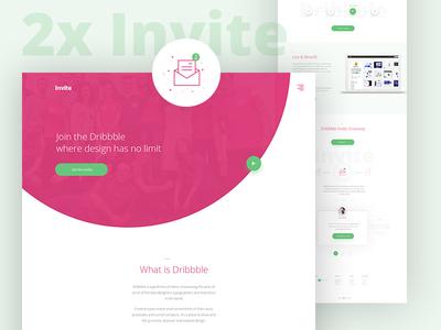 Dribbble 2x Invitation landing page