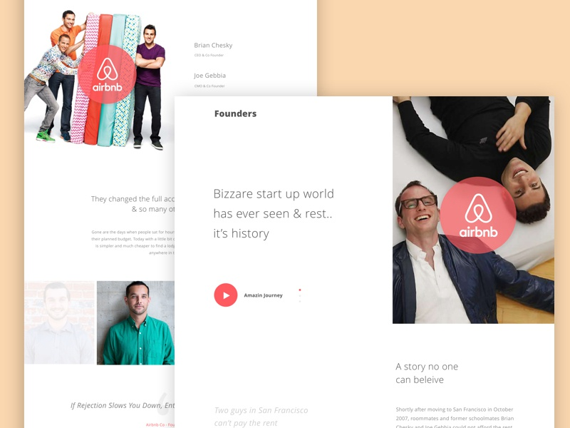 Founders - #1 - Airbnb minimal founder template web design landing page thanking airbnb ux ui