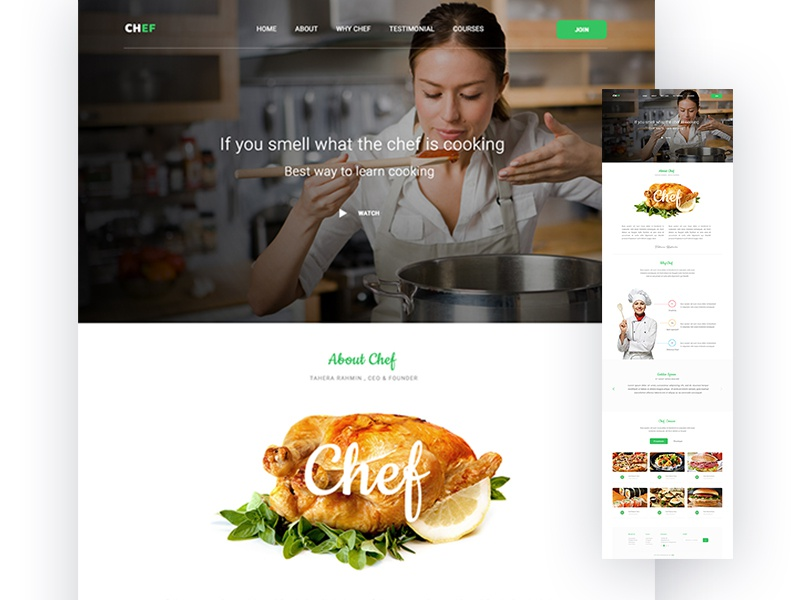 Chef Web Design Concept website eat cooking minimal restaurant chef food template web page landing page ux ui