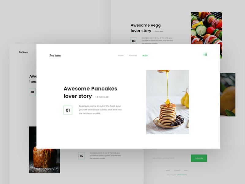 Food - Blog design website eat cooking minimal restaurant template blog food web page landing page uiux