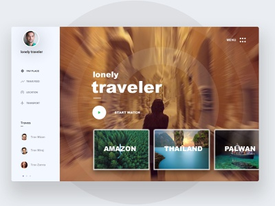 Lonely Travler travel conceptual design creative design minimal dashboard good design web app ux ui