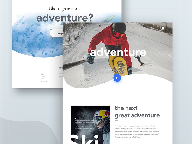 adventure landing page ux ui interaction grid typography travel gallery grid counter minimal flat gradient shadow photo photography design camera discover album web ux ui