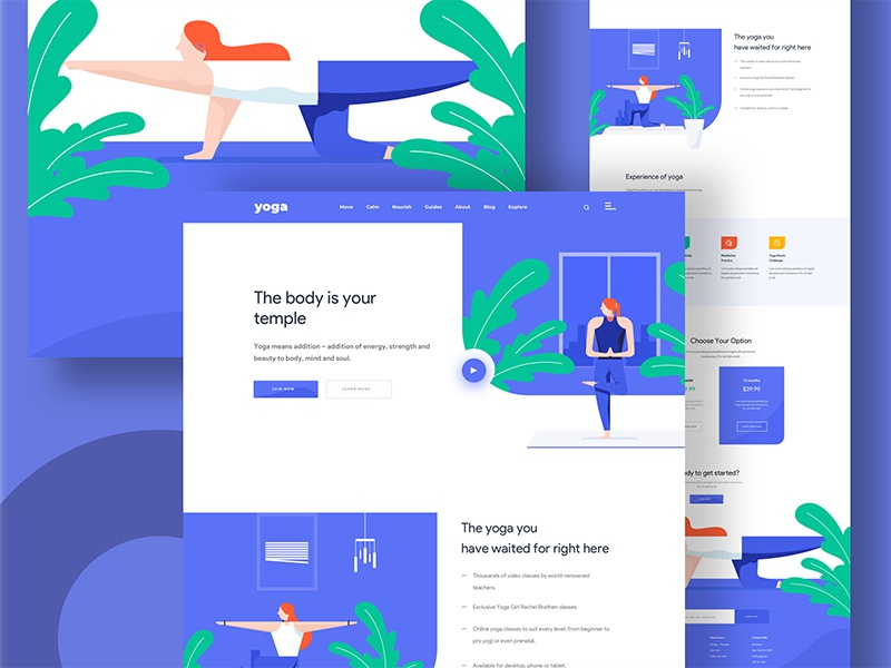 Yoga Illustration web design yoga web design web illustration illustration creative design minimal norde good design web design ux ui
