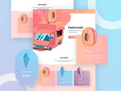 Food truckr web design home page ice cream donats ui ux web design good design norde minimal creative design illustration web illustration food web design