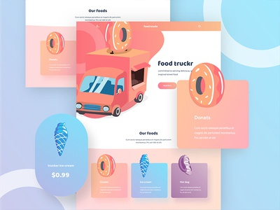 Food truckr web design home page ice cream donats ui ux web design good design norde minimal creative design illustration web illustration food web design