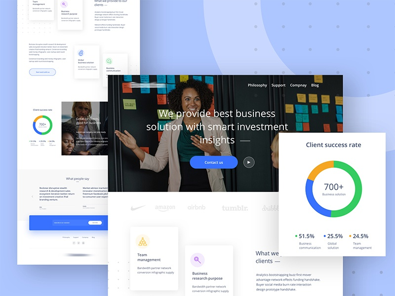 Homepage design for a business solution company investor corporate agency business solution business web site good design web design ux ui
