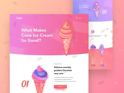 Cone landing page design uxui design web app design colorful design minimal gradient design conceptual food design gradient ice cream cone ice cream design norde creative design good design ux ui