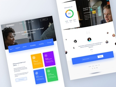 Homepage design for a business solution company clean bold branding color gradient minimal statistics illustration app popular trending analytics agency typography contact form recruiter user experience ux user interface ui service landing page b2b saas product job portal website web design template