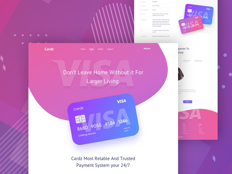 Cardz Landing Page mobile apps design web application admin panel dashboard web design chilling mantis web design landing page gradient colorful design visa card master card design financial landing page design card landing page design uiux ux ui