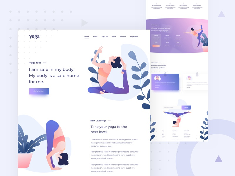 Yoga Landing Page design gradient colorful design chilling mantis studio web illustration design yoga web landing page design illustration landing page web design ux ui