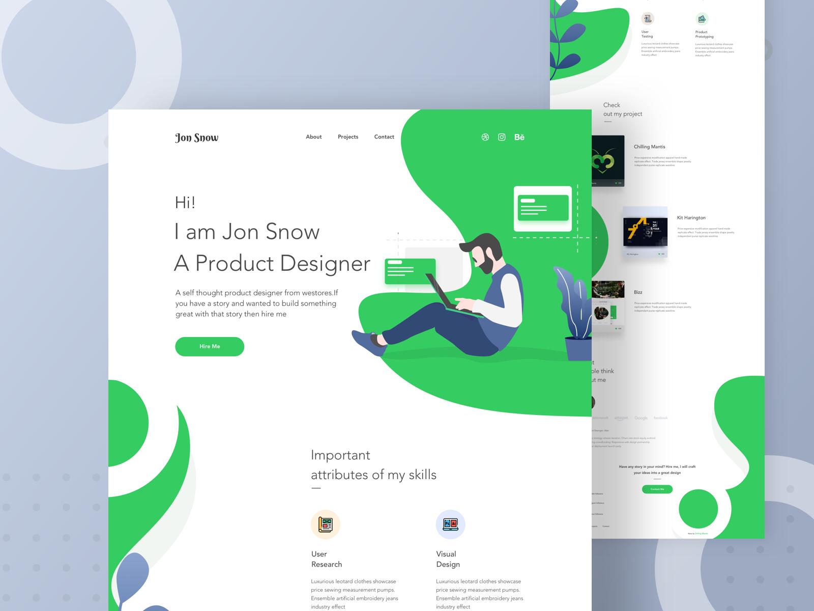 Portfolio Landing Page portfolio web illustration designer developer portfolio portfolio web design chilling mantis typography web illustration template ux landing page illustration web design ui