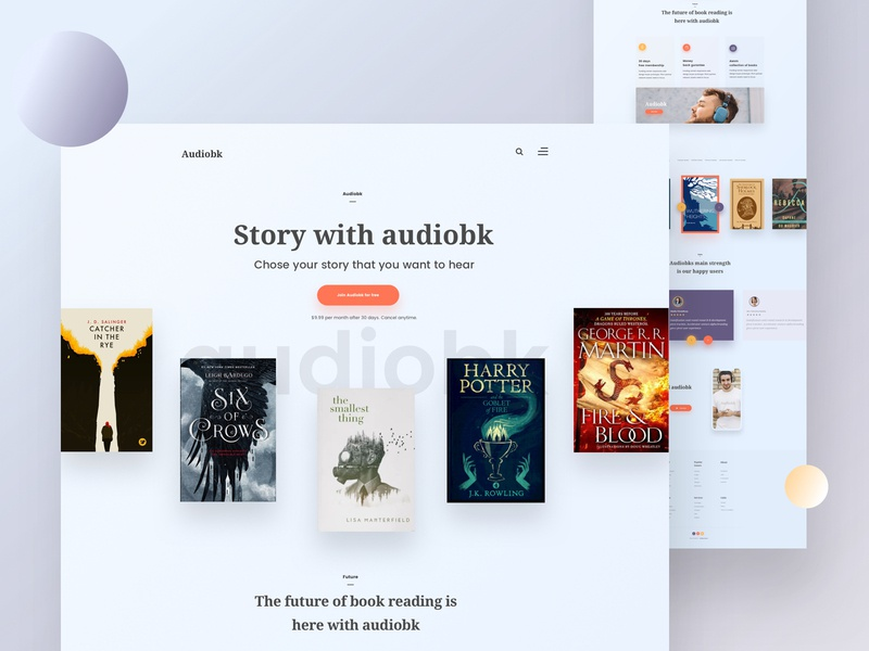 Audiobk Landing Page v2 minimal web design product design user experience design user interface design audiobook template audio book web design audiobook landing page audiobook template landing page creative design web design ux ui