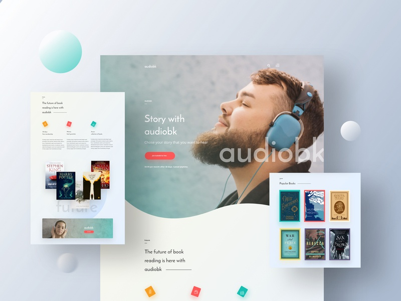 Audiobk V3 Landing Page ui ux web design creative design landing page template audiobook audiobook landing page audio book web design audiobook template user interface design user experience design product design minimal web design