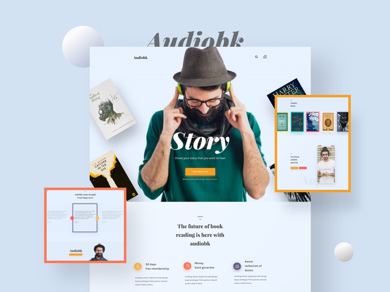 Audiobk Landing Page V4 minimal web design product design user experience design user interface design audiobook template audio book web design audiobook landing page audiobook template landing page creative design web design ux ui
