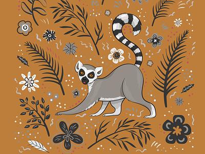 Vector lemur lemur flowers leaves cute vector illustration animal