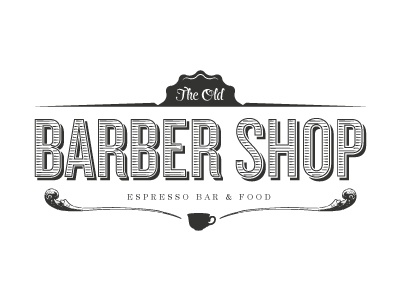 The Old Barber Shop logo branding identity cafe