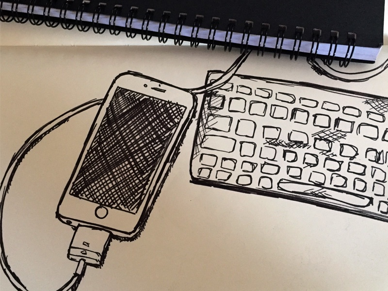 Sketch of Apple iPhone and Keyboard by Chris Wharton | Dribbble