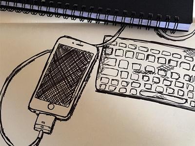 Sketch of Apple iPhone and Keyboard sketch black ink monochrome pen handdrawn illustration