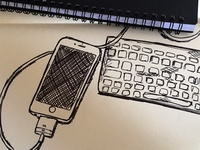 Sketch of Apple iPhone and Keyboard