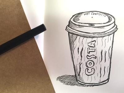 Coffee Sketch sketch pen monochrome ink illustration handdrawn coffee