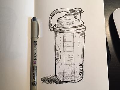 Protein Shake Bottle Sketch sketch illustration bottle shake ink monochrome handdrawn