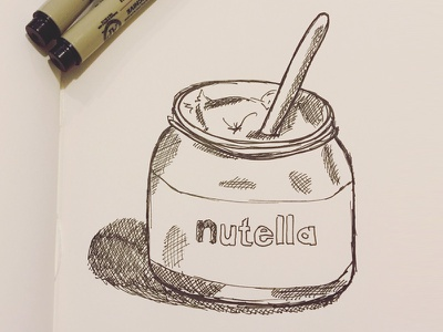 Mmm... Nutella Sketch paper pen hand drawing hand drawn monochrome ink nutella doodle illustration sketch