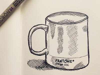Pantone Mug Sketch sketch handdrawing handdrawn handmade paper monochrome ink mug illustration pen doodle