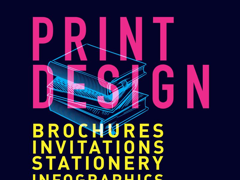 Print design flat design typography vector