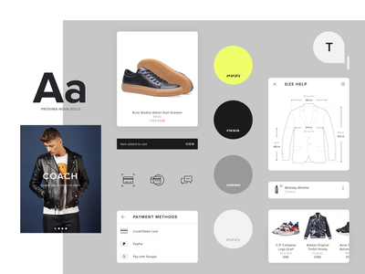 Style guide for an android app sneakers retail ecommerce component library component design component uidesign uiux styleguide style components shop app android app design clothes android app android