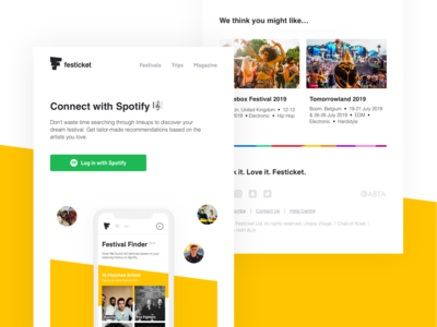 Connect With Spotify Email newsletter design newsletter marketing campaign yellow slanted slant emojis layout email layout festival email email header email footer marketing email spotify artistis music festival ecommerce email campaign email