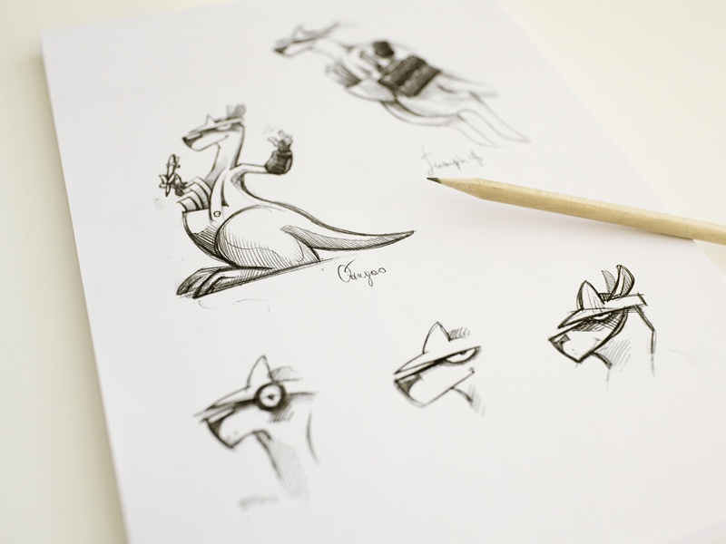 Kangaroo Sketches emotion mimicry sketch paper texture pencil concept character prototype kangaroo kangoo accountant illustration icons table rough idea logo art logotype
