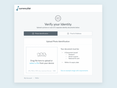 Onboarding - Verify Your ID image validation drag drop file upload first run experience onboarding