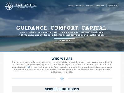Tidal Capital Website-WIP tidal ocean blue nautical website homepage