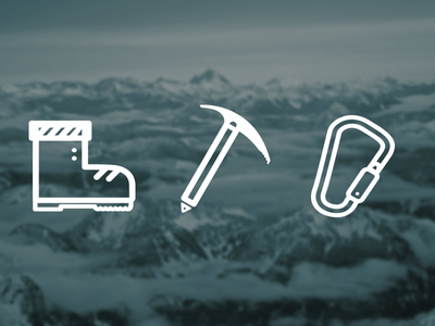 Mountaineer Icons mountains climbing ice snow icon boot axe carabiner mountaineer hike