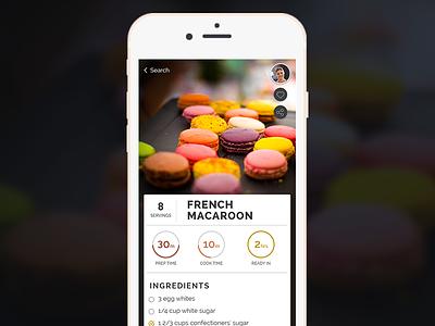 Recipe App (WIP) mobile ux ui macarons cooking food recipe app