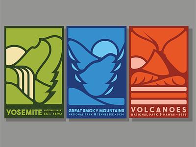 National Park Posters illustration flat smoky mountains mountains yosemite hawaii volcano national parks