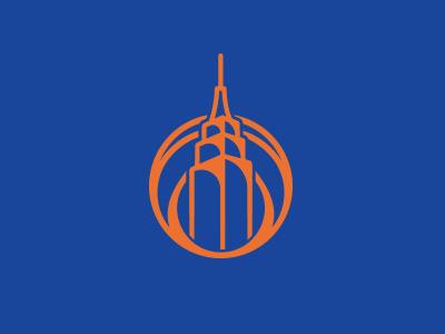 New York Knicks badge flat vector illustration empire state building basketball knicks new york city new york sports icon logo